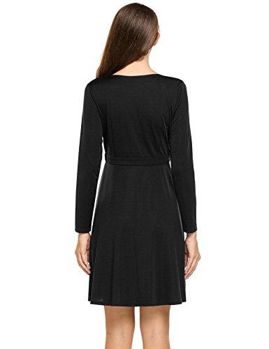 00bae0e430870 ANGVNS Women's Deep-V Neck Long Sleeve Above Knee Cocktail Wrap Dress Black  Small
