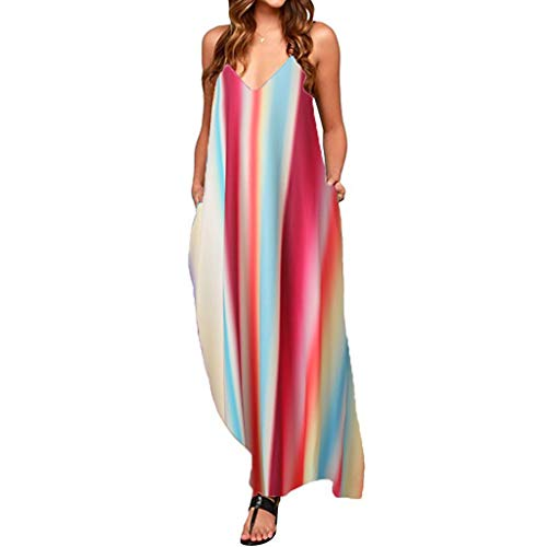 TOTOD Dress - Womens Sleeveless Bohemian Tie-Dye Illusion Print Racerback Long Tank Beach Sundress(Red-Stripe,L) ()