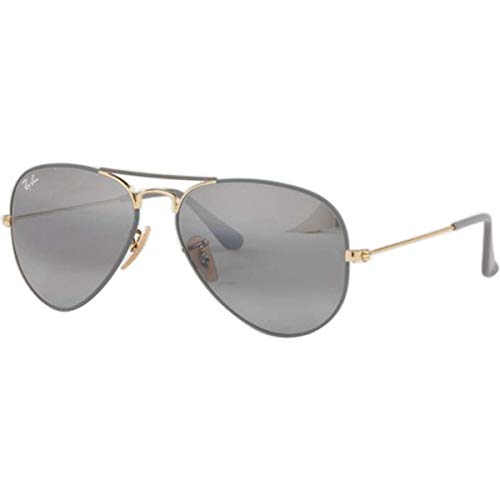 Ray-Ban RB3025 Aviator Sunglasses, Matte Grey on Gold/Grey Gradient Mirror, 55 ()