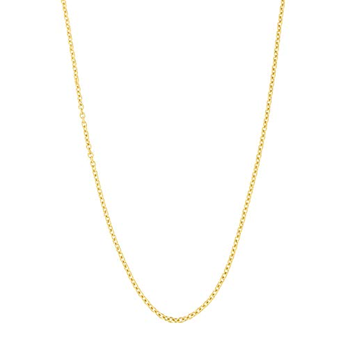 14k Yellow Gold 1.0mm Oval Cable Link Chain Necklace, 18