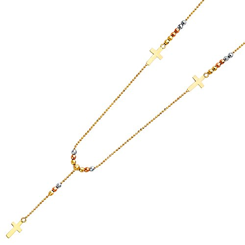 18' Solid Bead (14K Solid Tri-color Gold 2.5mm Beads Ball Rosary Necklace - 18'')