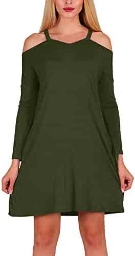 a691a768008 DEATU Womens Dress Clearance Ladies Casual Long Sleeve Off Shoulder Dress  Autumn Party Mini Dresses
