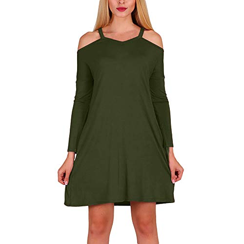 Womens Dress DEATU Clearance Ladies Casual Long Sleeve Off Shoulder Dress Autumn Party Mini Dresses (Green Athens Polyester)