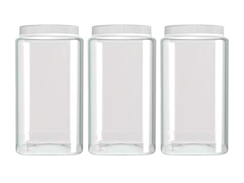 Silicook Clear Plastic Jar, Set of 3-30oz, Square Shaped, Transparent, Food Storage Container, Kitchen & Household Organization for Dry goods, Spices, Vegetables, Ingredients and More 30 Ounce Plastic Container