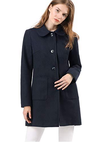 Allegra K Women's Turn Down Collar Single Breasted Winter Outwear Trench Coat XL Blue