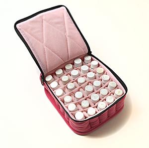 "30-Bottle Essential Oil Carrying Cases hold 5ml, 10ml and 15ml bottles - Fuschia with Soft Pink interior - 3"" high"