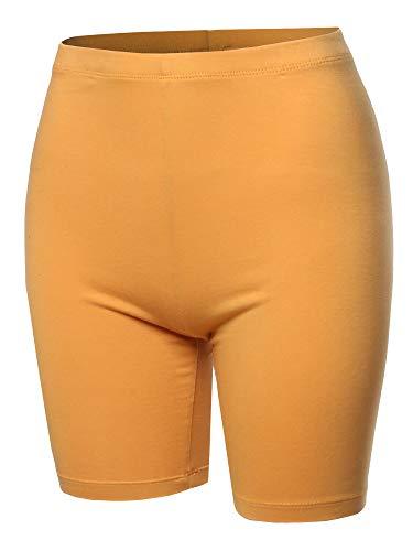 (Basic Solid Cotton Mid Thigh High Rise Biker Bermuda Shorts Ash Mustard 3XL)