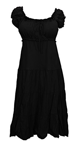 eVogues Plus Size MidNight Black Cotton Empire Waist SunDress - 1X