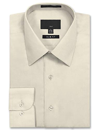 JD Apparel Men's Long Sleeve Slim Fit Solid Dress Shirt 15-15.5 N : 32-33 S Ivory