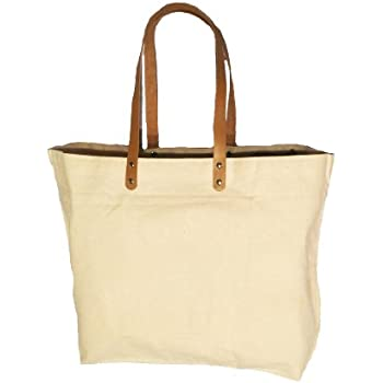 Amazon.com: Jute Burlap Large Bag with Leather handles Brown and ...