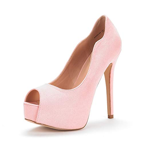 DREAM PAIRS Women's Swan-25 Pink High Heel Platform Dress Pump Shoes Size 11 M US