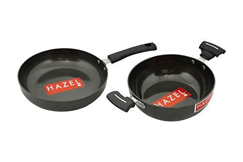 HAZEL 3 mm Hard Anodised Cookware Set Aluminium Anodized Kadai Frying Pan with Induction Base Set of 2 Pc, 20 cm Kadhai with 22 cm Fry Pan, Black