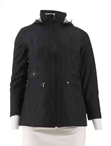 Liz Claiborne NY Quilt Jacket Long SLV V-Neck Zip Semi-Fit Black M New A262944