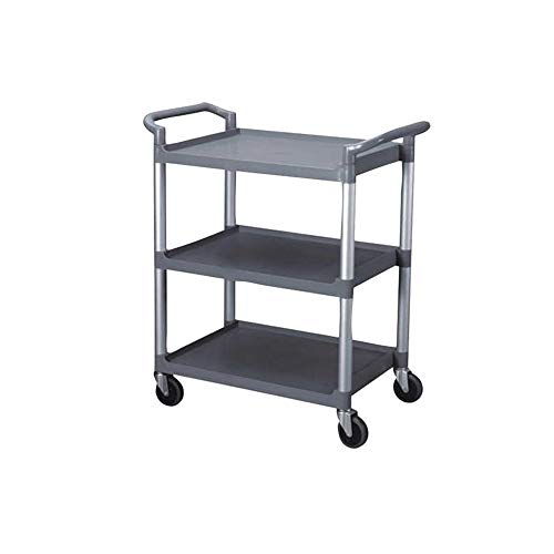 3-Tier Utility Cart, Grey Bus Cart 350 lbs Load with Open Shelving 33