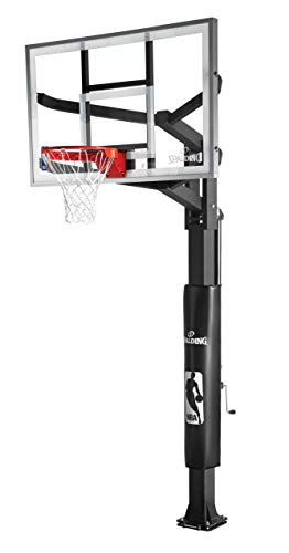 - Spalding Arena View In-Ground Basketball System with 60-inch Steel Framed Glass Backboard