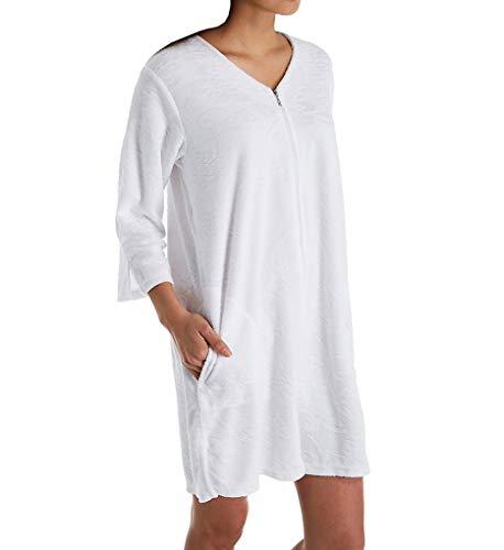 (Miss Elaine Micro Terry Short Zip Robe (833008) M/White)