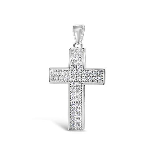 - Tisoro 925 Solid Sterling Silver Small Cubic Zirconia Paved Cross Pendant, Charm for Bracelet Necklace