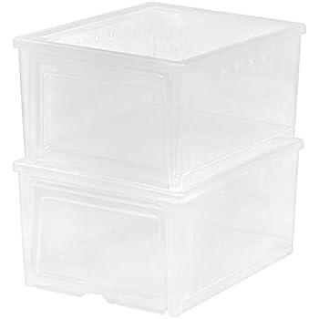 IRIS USA, Inc. IRIS Easy Access Men's Shoe Box, 2 Pack, Wide, Clear