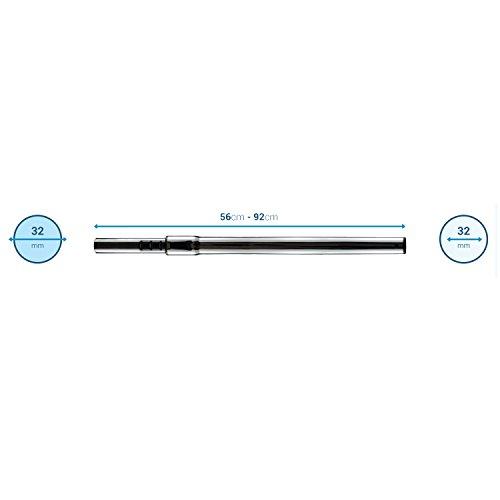 ✧WESSPER® Tube télescopique pour aspirateur Philips FC9172/01 (Ø 32/32mm, argent)