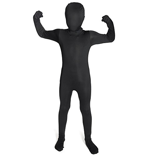 [Black Original Kids Morphsuit Costume - size Large 4'1-4'6 (123cm-137cm)] (Make Your Own Halloween Costume With Clothes)