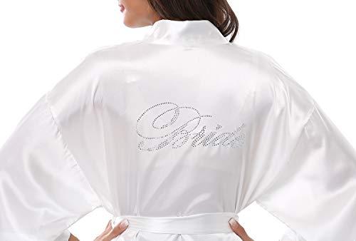 FADSHOW Women's White Satin Wedding Dress Gown for Bride,White,XL