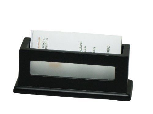 Victor 1156-5 Wood Business Card Holder w/Frosted Glass Window, Holds up to 60 Business Cards, Professional Aesthetic, Midnight Black