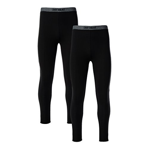 32 DEGREES Mens 2 Pack Heat Performance Thermal Baselayer Pant Leggings, Black/Black, S by 32 DEGREES