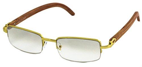 Elite WOOD Art Nouveau VINTAGE Semi Rimless Gangster RICH Frame Eye Glasses (Gold Mirror Tint, 2.2)