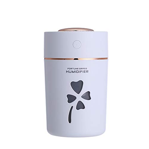 WANGCHAO Clover Grass Desktop Humidifier, USB Expansion Interface 280 Ml Aromatherapy Humidification Colorful Night Light Purification Car Home Humidifier,White ()