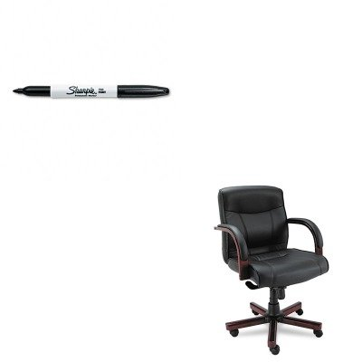 KITALEMA42LS10MSAN30001 - Value Kit - Best Madaris Mid-Back knee Tilt Leather Chair w/Wood Trim (ALEMA42LS10M) and Sharpie Permanent Marker (SAN30001)
