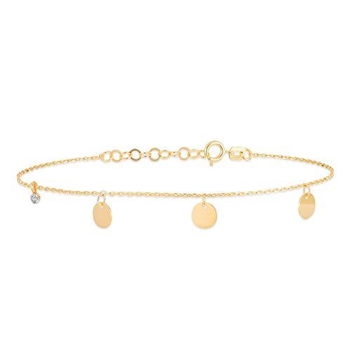 14k Solid Gold 0,01 ct Diamond Station Round Bangle Bracelet - Gold Bracelet for Women - Gelin Diamond