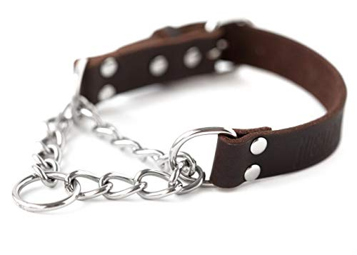 Mighty Paw Leather Training Collar, Martingale Collar, Stainless Steel Chain - Premium Quality Limited Chain Cinch Collar. (Medium, Brown)]()