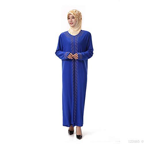 Femmes 's Islamique Abaya Musulman Longues Manches Baronhong Maxi Élégant À Robe Bleu Strass HdqwW