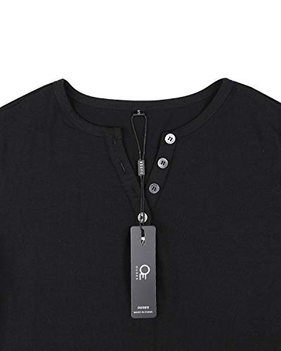 OUGES Womens Long Sleeve V-Neck Button Causal Tops Blouse T Shirt