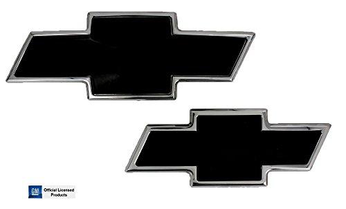 (2007-2014 Chevrolet Suburban Black/Polished Billet Aluminum Bowtie Front & Rear Emblems By AMI)