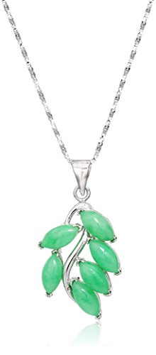Rhodium Plated Sterling Silver Green Jade Leaf Pendant Necklace, 18