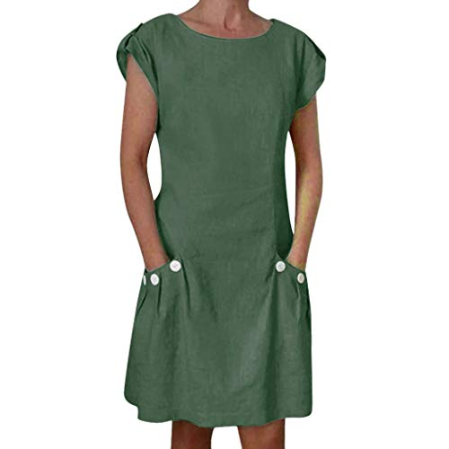Tantisy ♣↭♣ Women's Tops Summer Short Sleeve O-Neck Midi Dress Swing Pencil Dress Chic Button with Pockets Casual Dress