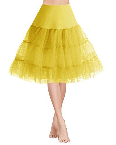 Petticoats Rockabilly Yellow Sottogonne Mini al Gardenwed Ginocchio 1950s Vintage Gonne Retro Donna Annata xBpwnw06Rz