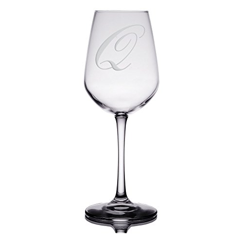 Monogram Etched Glass (Initial Etched Wine Glass - Artisan Sand Engraved Monogram Design on 12.5 oz. Libbey Stemware (Letter: Q))