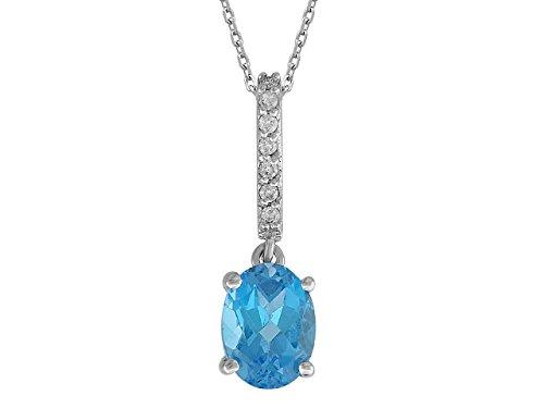Pendentif Topaze Bleue et Diamants-Femme- or Blanc 217P0013