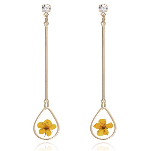 BONALUNA Pressed Flower Yellow Gold Plated Tear Dangle With Cubic Zirconia Titanium Post Back Earrings