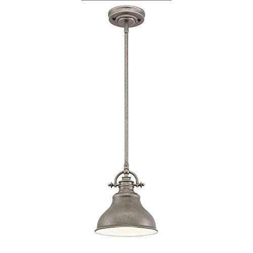 Quoizel ER1508DI Emery Vintage Mini Pendant Lighting, 1-Light, 100 Watts, Distressed Nickel (9