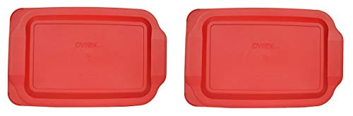 Pyrex 233-PC Red Rectangle Standard Baking Dish Lid (Lid Only - Dish NOT Included) - 2 Pack