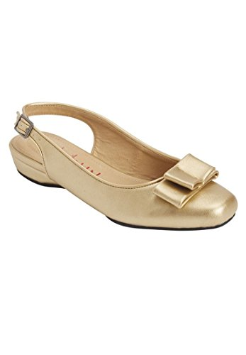 Comfortview Womens Wide Nikki Slingback Flat Metallic Gold 9OkCp4