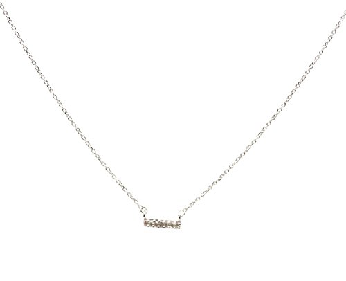 Adina Reyter Tiny Pave Bar Necklace (Silver) (Adina Necklace Reyter)
