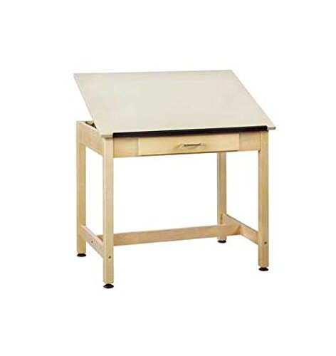 Diversified Woodcrafts DT-1A30 UV Finish Solid Maple Wood Art/Drafting Table with 1 Piece Top and Large Center Drawer, Plastic Laminate Top, 36'' Width x 30'' Height x 24'' Depth by Diversified Woodcrafts