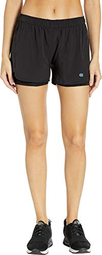 - Champion Women's Stretch Woven 2 in 1 Short, Black, S