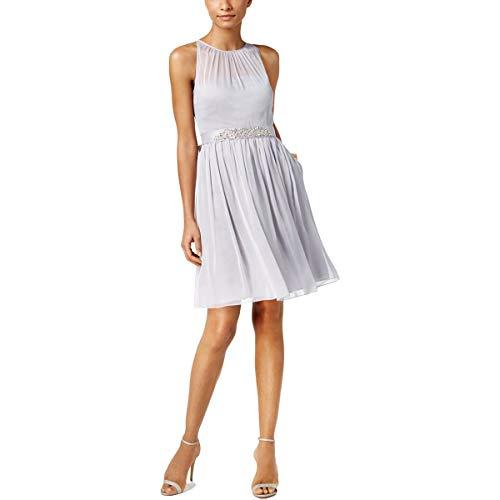 Adrianna Papell Women's Chiffon Sleeveless Belted Halter Dress Silver Size 20
