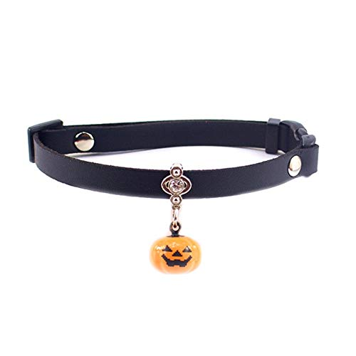 Stock Show Pet Halloween Collar Dog Cat Breakaway Leather Collar with Pumpkin Bell Engraved Diamond Charm Pendants for Halloween Holiday Theme Party, Suitable for Small Medium Dog Kitten -