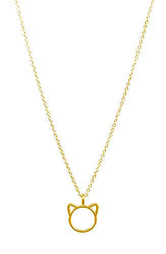 Dogeared Women's Meow, Cat Head Necklace Gold One Size